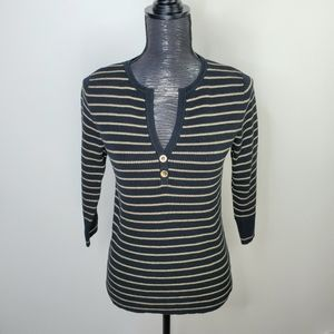 Lauren Ralph Lauren Striped Ribbed Split Neck Top